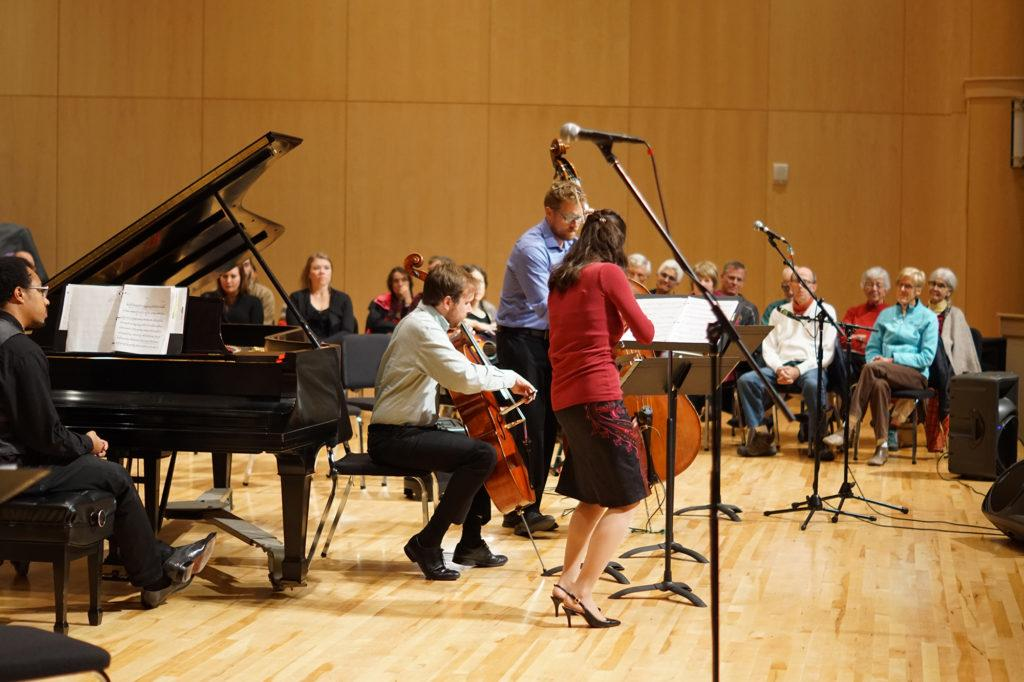 Photo+by+Kat+Torreano%3A+Classical+and+folk+musicians+Evan+Premo+and+his+sister+Laurel+Premo+jam+at+Reynold%E2%80%99s+Recital+Hall+on+Friday%2C+Sept.+29+as+audience+members+have+fortunate+seats+near+the+performers+on+stage.