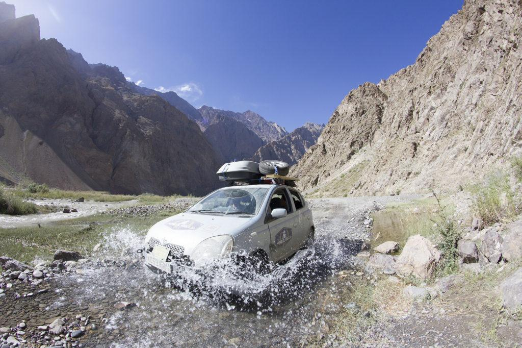 Mortensen and Derby are shown here off-roading through the Bartang Valley in Tajikistan.