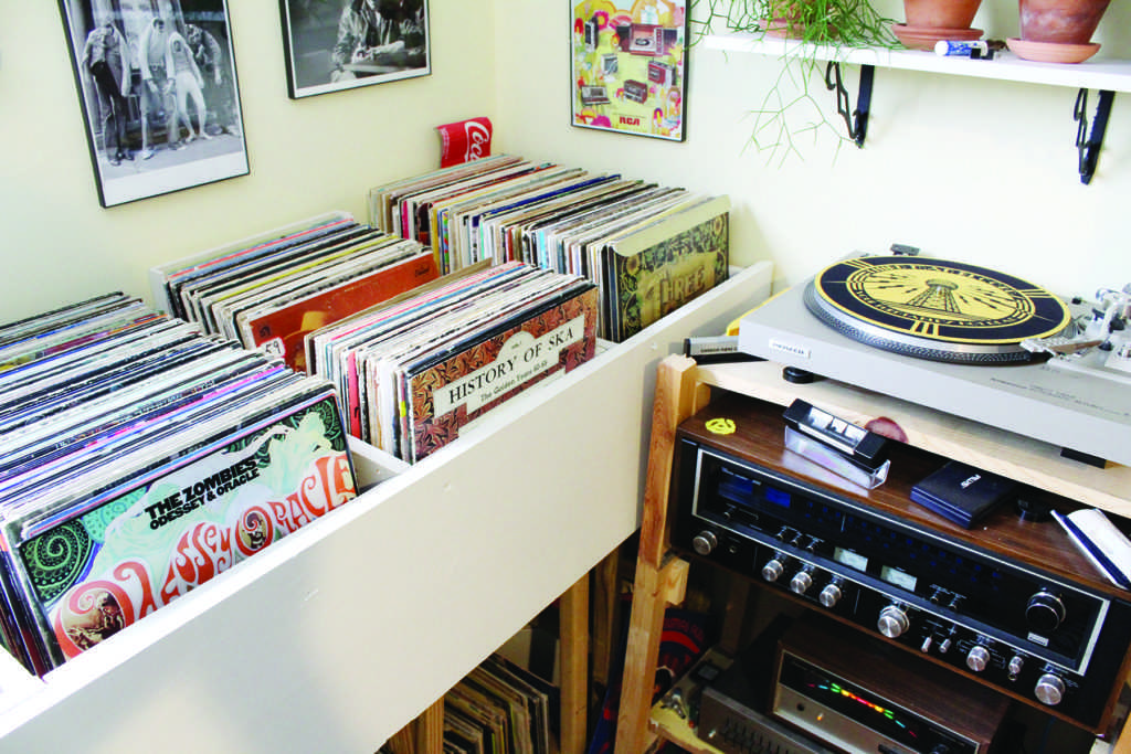 Photo by Noah Hausmann: Greg Sandell's personal record stash and turntable.