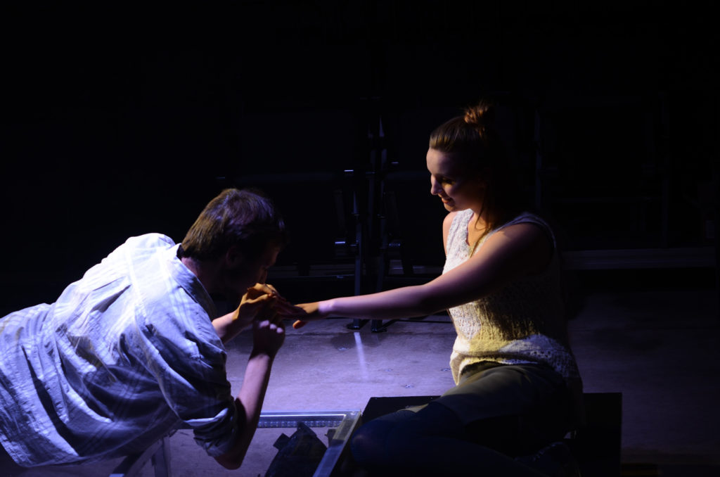 """Photo by Emma Case: Senior Taylor Ehle and freshman Max Stevens star in the drama """"Constellations"""" by contemporary British playwright Nick Payne."""