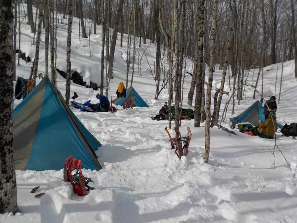 The snowy camp is set up and campers will leave no trace but their footprints.