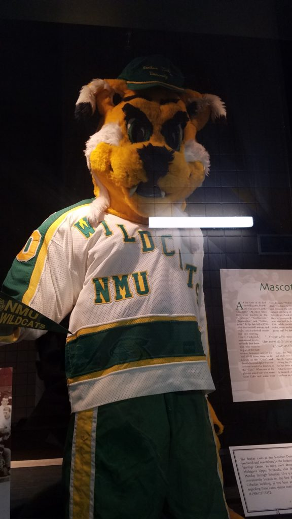 A brief history of Wildcat Willy can be found along the perimeter track inside the Superior Dome. This edition of Willy was worn in the 1990s and is one of many iterations worn in Wildcat Willy history.