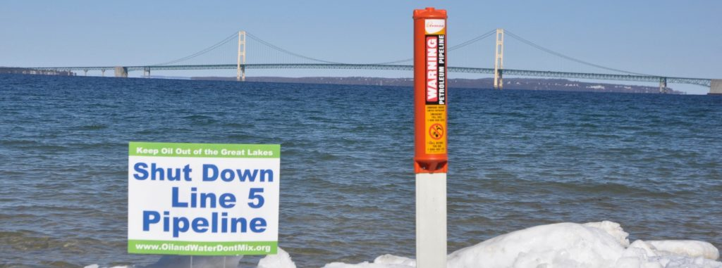 The Enbridge Line 5 pipeline transports oil products over 645 miles, and crosses through the Great Lakes under the Straits of Mackinac. Recent concerns have been brought up by state officials over the pipeline's operation. Photo courtesy of FLOW: For the Love of Water