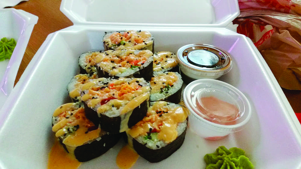 Benri+Sushi+in+the+Masonic+Building+offers+spicy+crab+rolls%2C+which+are+imitation+crab+tossed+in+spicy+garlic+mayo+and+Sriracha%2C+fire+roasted+red+pepper%2C+cucumber%2C+and+scallion+with+Japanese+yum-yum+sauce+and+toasted+sesame.+Photo+by%3A+Jeff+Maki