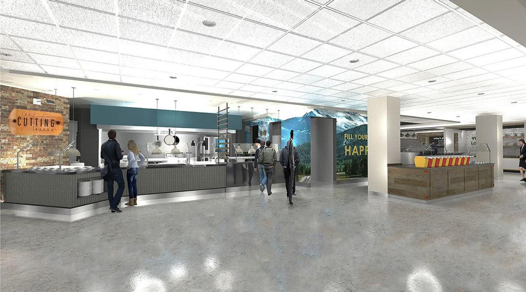 """A rendering of Northern Lights Dining demonstrates the look and features of the new dining facility, projected to open by Sept. 17. Formerly """"The Marketplace,"""" the construction and opening of the new dining center has faced multiple setbacks due to delayed delivery of materials and equipment.   Photo courtesy of NMU Dining"""