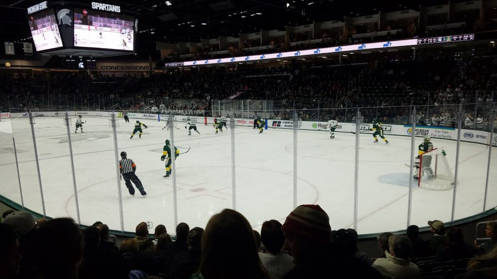Northern Michigan University Men's Hockey returned to the campus of Michigan State University for the first time since the disbandment of the CCHA conference.