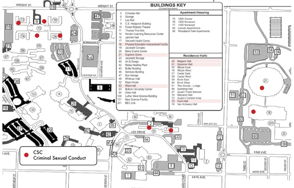 This map identifies where on campus specific cases took place. All 21 instances occurred on university property, but nine did not have locations listed in victims' initial reports. Photo by Chloe Anderson