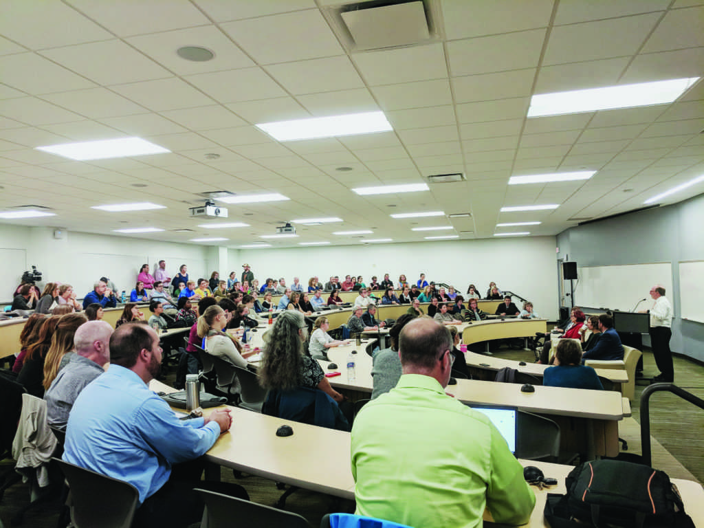NMU President Fritz Erickson addresses anxieties regarding the Strategic Resource Allocation (SRA) expressed by students and faculty at a university forum held Wednesday, Oct. 3. Photo by Tim Eggert