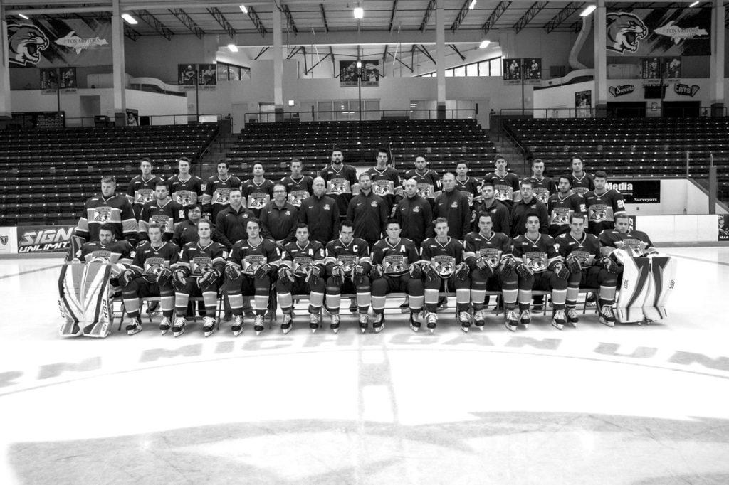 The 2018-19 Wildcat Hockey team photo showcases the team's new road uniform.  Photo courtesy of NMU Athletics