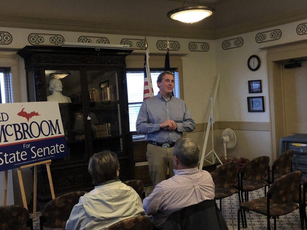 Rep. Ed McBroom addresses a small group of supporters in the Peter White Public Library. McBroom graduated from Northern Michigan University with two bachelor's degrees in 2005.  Photo by Jackie Jahfetson