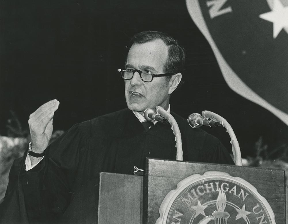 Then Republican National Committee Chair George Bush speaks to graduates at the 1973 fall commencement. The 41st president died on Friday after suffering from a form of Parkinson's Disease.  Photo  courtesy of Central Upper Peninsula and Northern Michigan University Archives