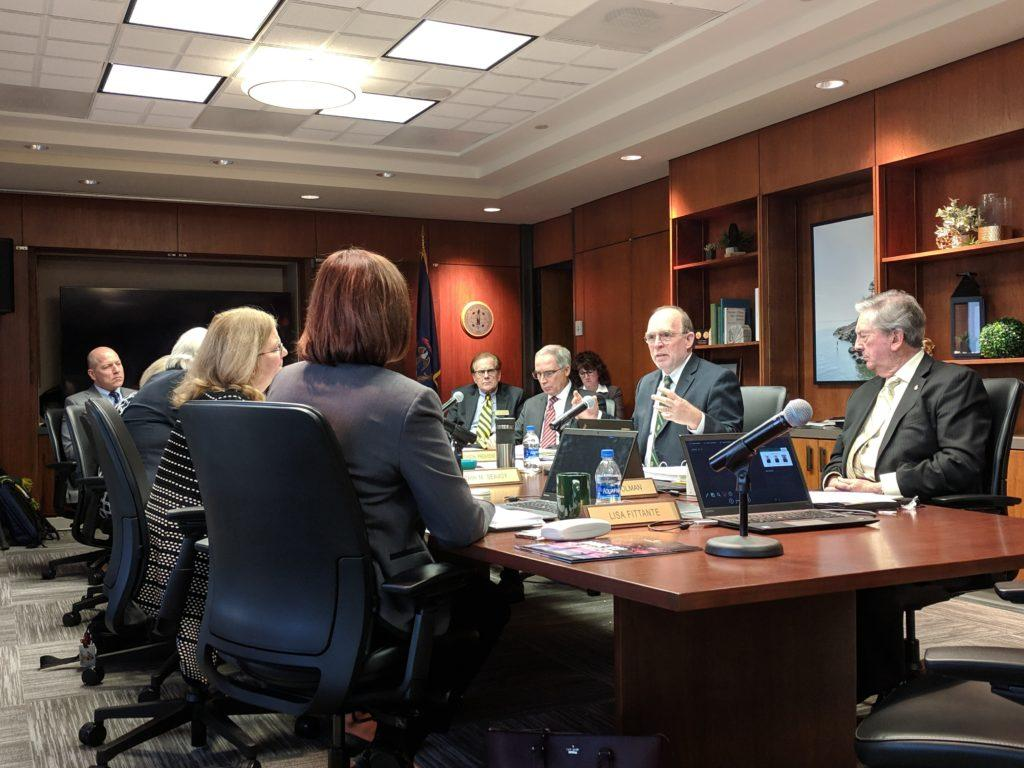 NMU President Fritz Erickson explains details of the Strategic Resource Allocation Implementation Task Force Report to the Board of Trustees at its final meeting in December.   Photo by: Tim Eggert