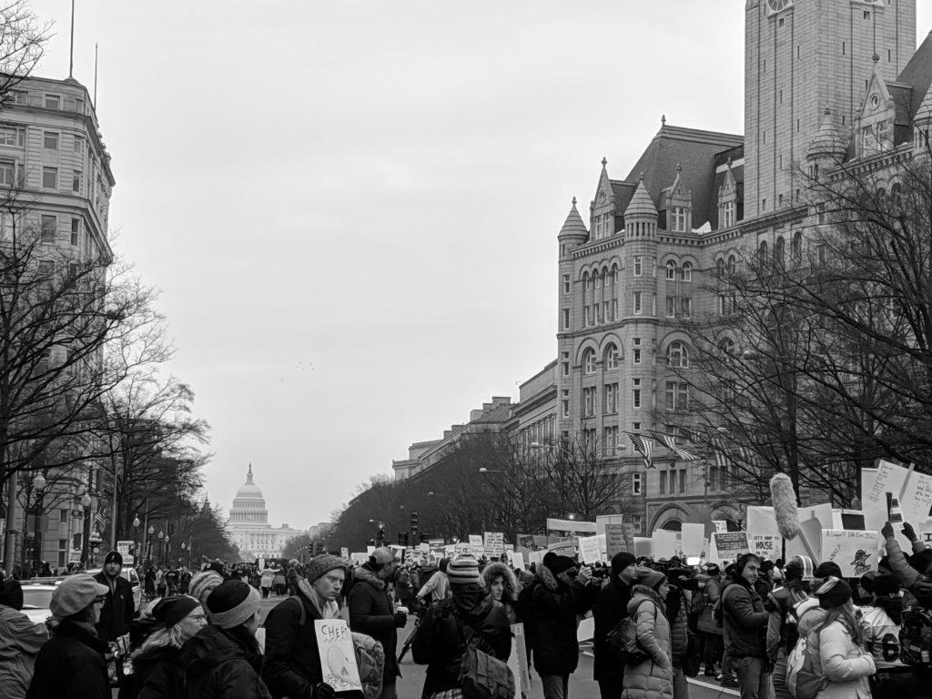 Marchers gather on Pennsylvania Avenue for the third Women's March. Photo by Tim Eggert