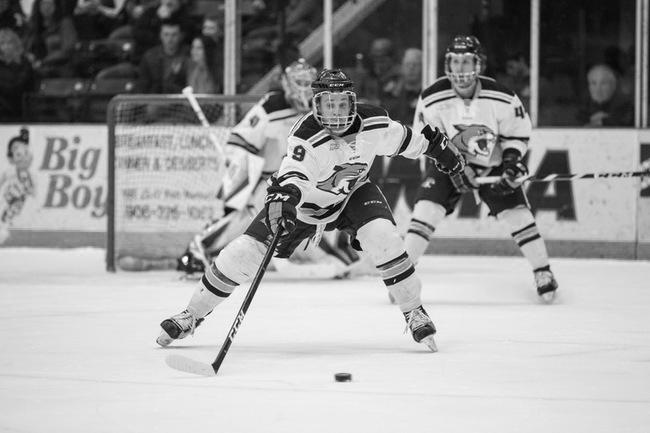 Senior+forward+Troy+Loggins+extends+to+deflect+a+pass+during+Friday+night%E2%80%99s+contest+against+the+Bowling+Green+State+University+Falcons.+Loggins+scored+his+12th+goal+of+the+season+on+a+third+period+power-play.%0APhoto+courtesy+of+NMU+Athletics