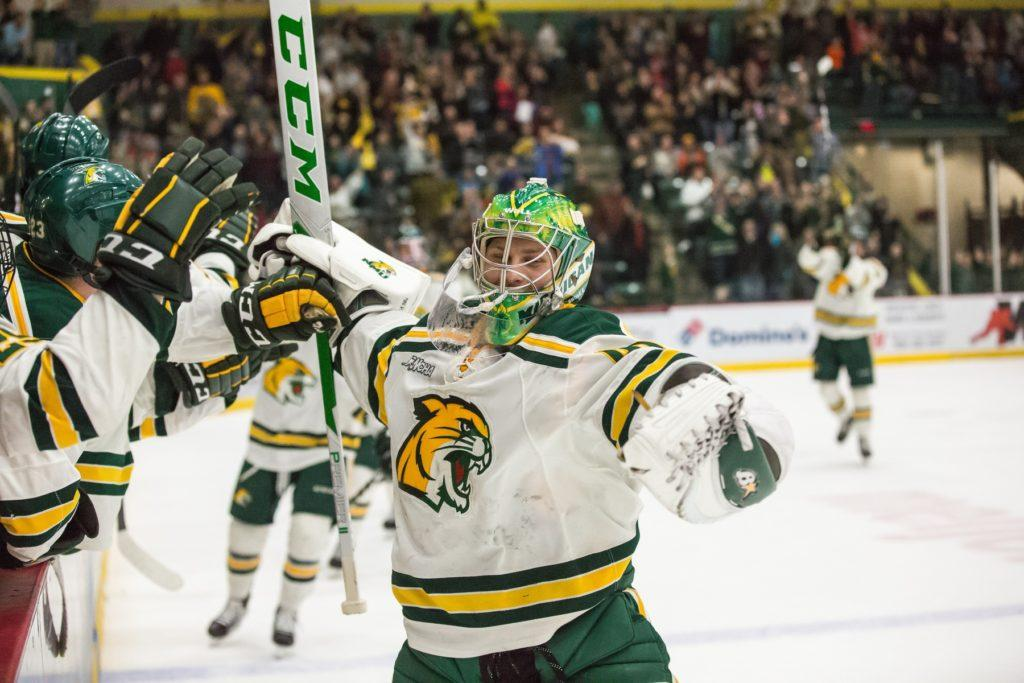 Following terrific NMU careers, forwards Adam Rockwood and Troy Loggins and goaltender Atte Tolvanen will be taking their talents to the next level following the signing of their professional contracts.  Photo courtesy of NMU athletics
