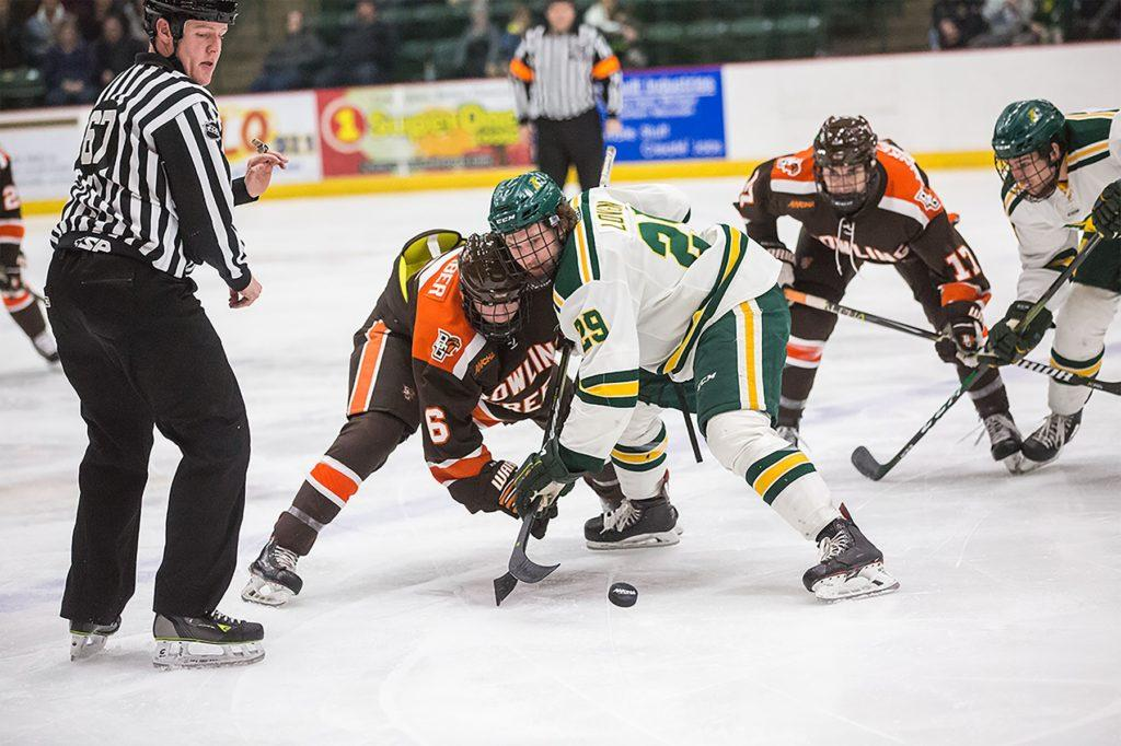 Freshman+forward+Grant+Loven+wins+a+faceoff+during+last+Friday%E2%80%99s+6-1+loss+to+Bowling+Green+State+University.%0A%0APhoto+courtesy+of+NMU+athletics%0A