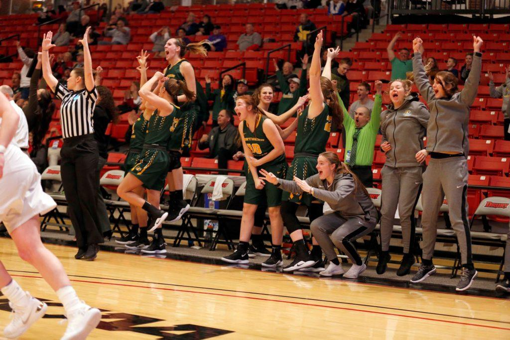 Members+of+the+NMU+Women%E2%80%99s+Basketball+team+celebrate+a+field+goal+during+its+first-round+matchup+against+Ashland+University.%0A%0APhoto+courtesy+of+NMU+athletics