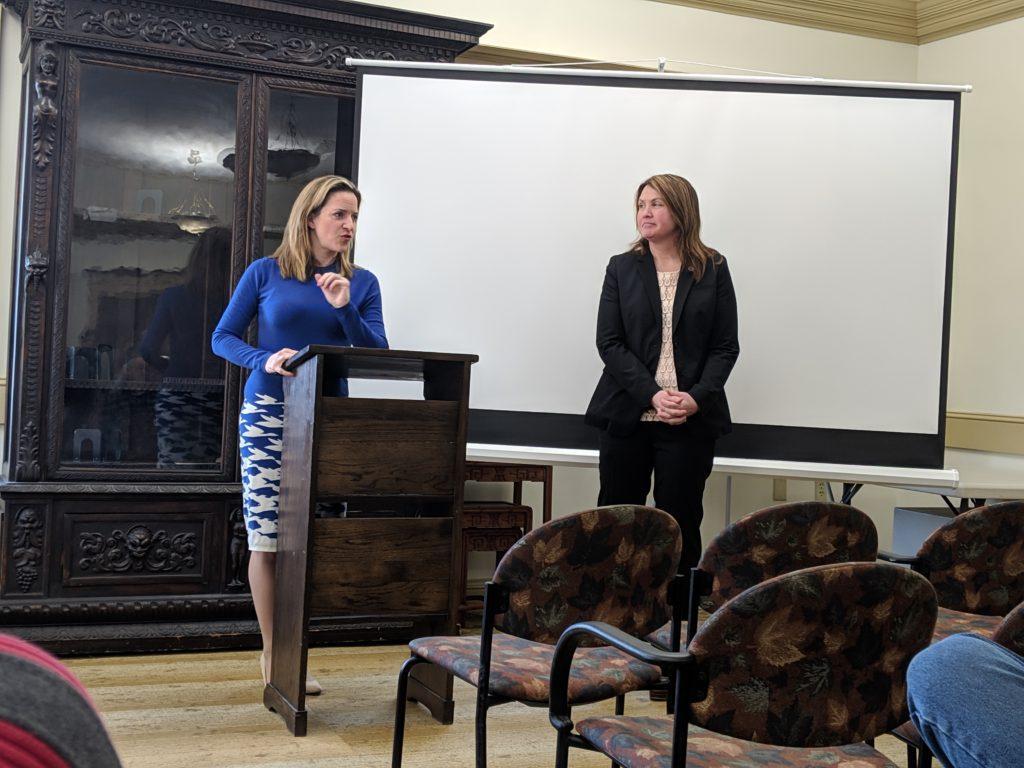 Secretary of State Jocelyn Benson and 109th District state representative Sara Cambensy. Photo by Tim Eggert