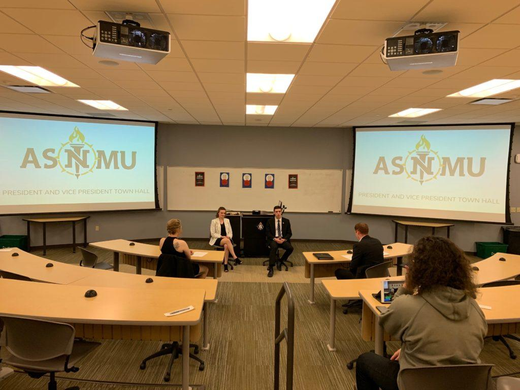 Unopposed+candidates+ASNMU+President+Cody+Mayer+and+ASNMU+Chair+of+Student+Affairs+Paige+Pucelik+discussed+the+future+of+ASNMU+President+and+Vice+President+Town+Hall.+Less+than+10+members+of+the+university+community+attended+the+discussion.+Photo+by+Sophie+Hillmeyer