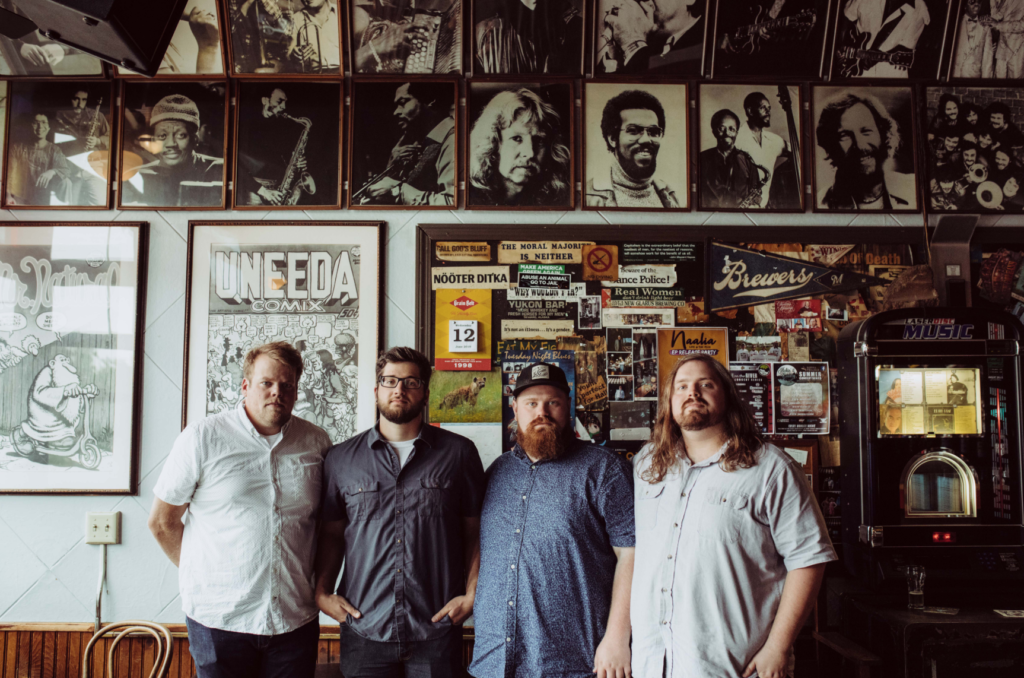 Band members from left: Beau Ranke, Neil Krause, Jens Staff and Soren Staff have produced three albums since forming in 2014. The first two were more Bluegrass while their newest album blends their original sound, punk-folk and Americana. Photo courtesy of Kyle Lehman