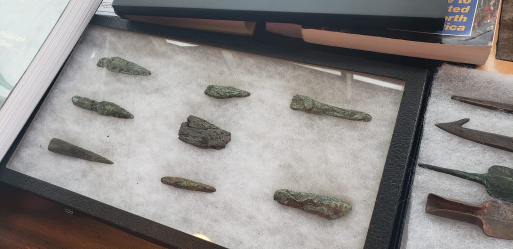 """BIG MONEY—From the booth of """"Ancient Use of Copper in the Lake Superior Region,"""" Bob Wheeler said that tools like these sell for $100 an inch.  Jessica Parsons/NW"""