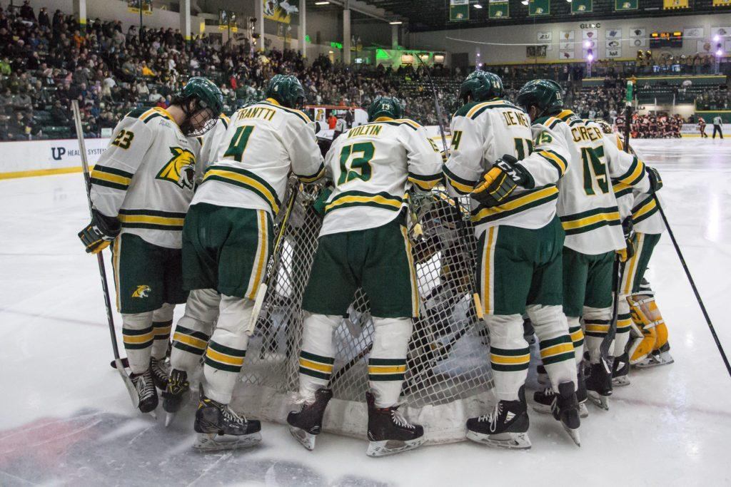 ICE+DEBUT%E2%80%94NMU+Men%E2%80%99s+Hockey+team+prepares+for+exhibition+game+against+some+of+the+most+talented+teenage+hockey+players+of+the+nation.+Photo+courtesy+of+NMU+Athletics.