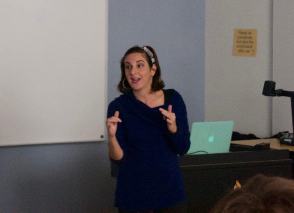 CUBAN+PERCEPTION%E2%80%94Michelle+Farrell%2C+Ph.D.%2C+associate+professor+of+Spanish%2C+answers+questions+about+the+importance+of+Cuban+film+on+Friday%2C+Oct.+25+in+Jamrich+1311.+%0AJustin+Vant+Hof%2FNW