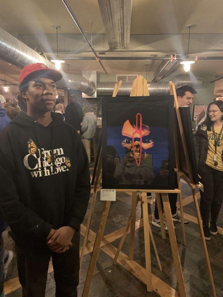 "YOUR FRIEND, CHUCKY—Junior graphic design major Ali Davis displays his work ""Chucky"" based on the film series ""Child's Play."" Photo courtesy of Ali Davis"