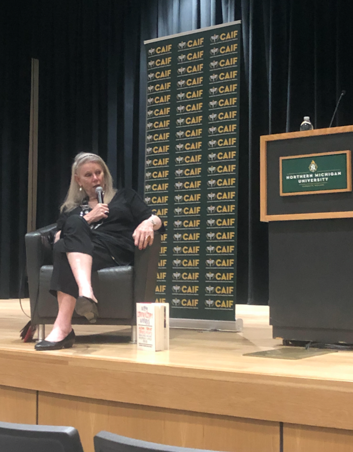 """MONEY TALKS—Author Diedre McCloskey advertises for her newest book, titled, """"Why Liberalism Works"""" before her discussion and Q&A session. Denali Drake/NW"""