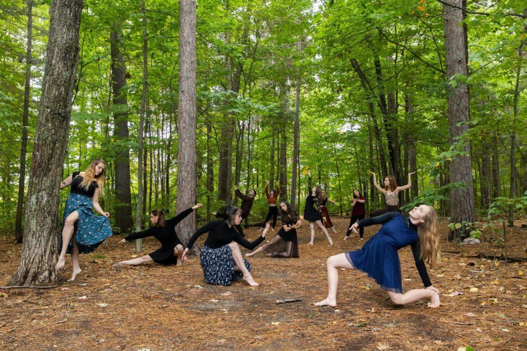 """BEND LIKE A WILLOW—Student dancers participating in the CO/LAB Collective production, """"What We Leave Behind: Addressing Climate Change Through Dance,"""" commune with nature."""