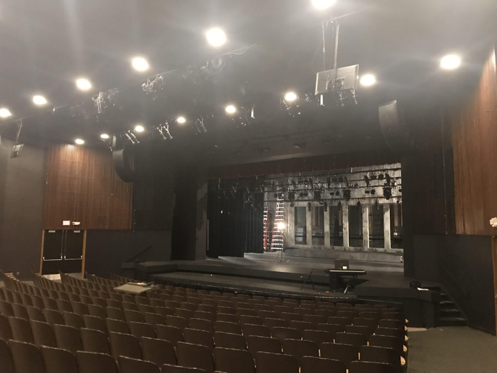 """SET STAGE—The Forest Roberts Theater awaits its next attraction, the theater program's production of """"The Full Monty"""" which will open on Oct. 11."""