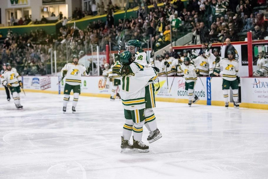 CHARGERS+OUT+OF+BATTERIES%C2%AD%E2%80%94The+Wildcats+won+both+games+against+the+winless+Alabama-Huntsville+Chargers.+Andre+Ghantous+%28left%29+and+Griffin+Loughran+celebrate+an+NMU+goal.+Photo+courtesy+of+NMU+Athletics.