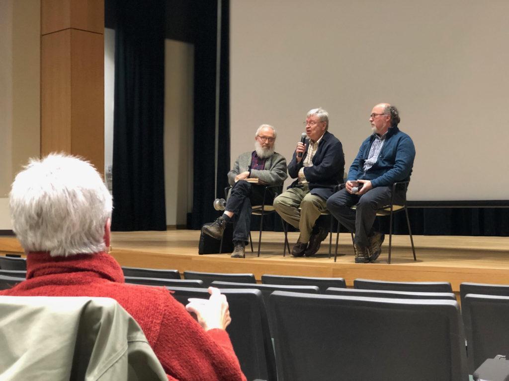 TALKING HISTORY—Filmmaker Michael Loukinen (center) takes questions from Beaumier U.P. Heritage Center Director and Curator Daniel Truckey and history Professor Emeritus Jon Saari.