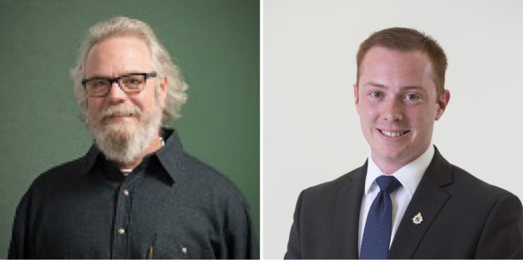 SHARING WISDOM—Scott Jordan (left), School of Health and Human associate professor, and Connor Loftus, fisheries and wildlife management major, will speak at commencement on Dec. 14 at the Superior Dome.