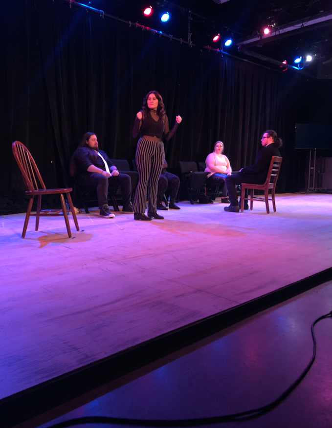 SING YOUR HEART OUT—Senior theatre major Audree Stephens performs a solo musical theatre piece in the Black Box theatre on Monday, Dec. 2 during dress rehearsal for the theatre performance senior showcase.  Maggie Duly/NW