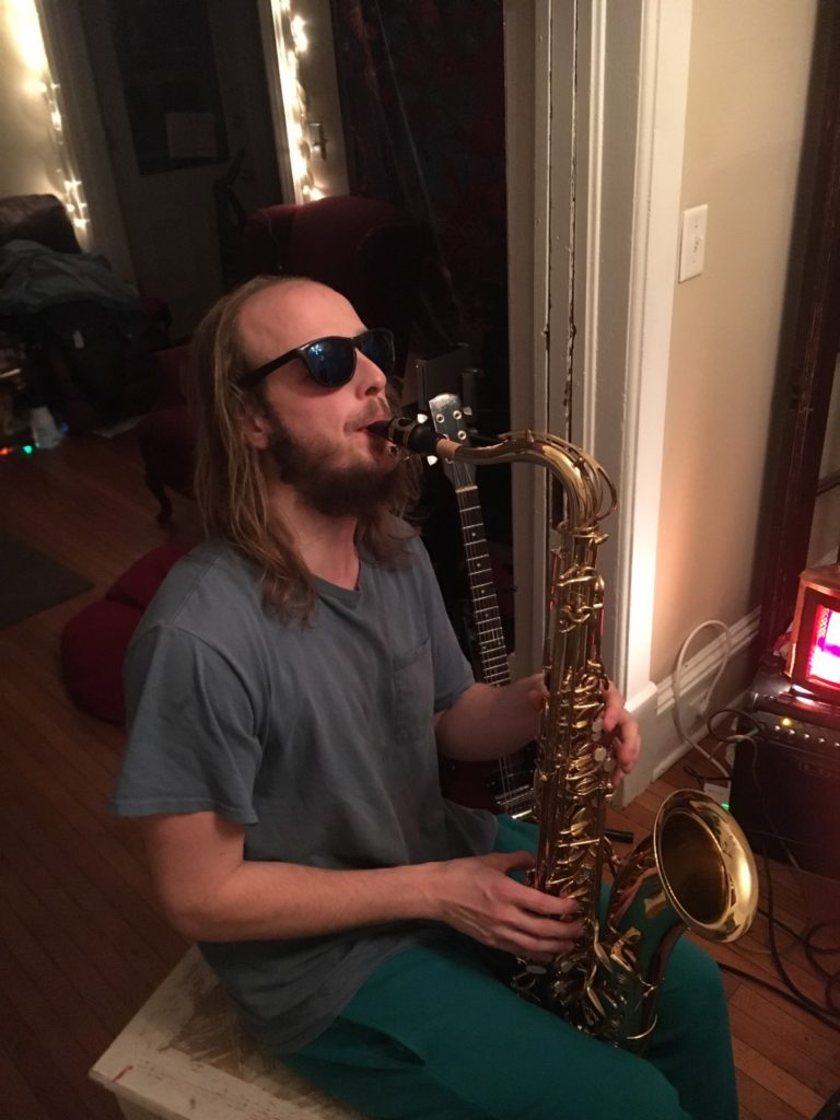 Photo courtesy of Noah Bauer FEELING SAXY—Marquette Music Pantry founder and NMU alum Noah Bauer displays his diverse musical skills playing the saxophone.