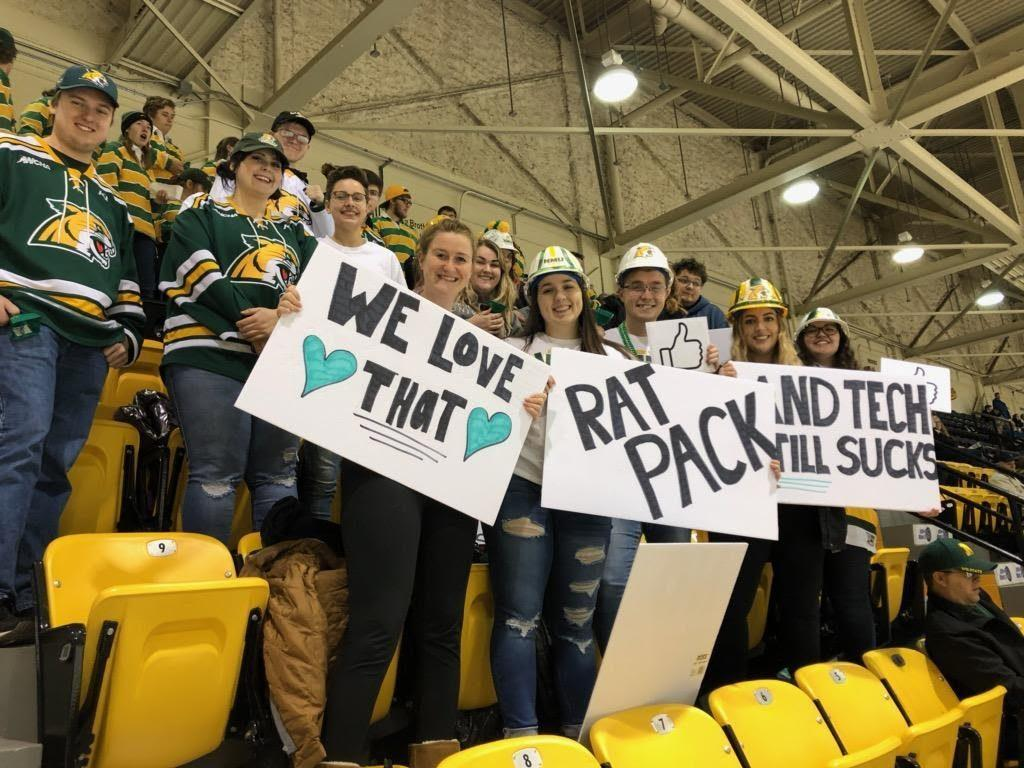 ONE+OF+NATION%E2%80%99S+BEST%E2%80%94The+Puckheads+were+loud+when+the+Wildcats+traveled+up+to+Michigan+Tech+on+Friday%2C+Nov.+22.+The+NCAA+cited+this+game+as+a+reason+why+the+fans+are+some+of+the+best+in+the+nation.+Photo+courtesy+of+Puckheads