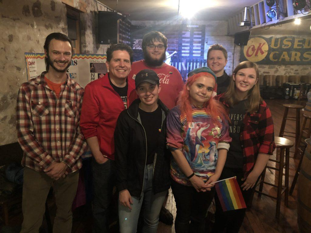Photo+courtesy+of+Kendra+Laupp%0AGAINING+SUPPORT%E2%80%94Executive+board+members+of+Queers+and+Allies+Kendra+Laupp+%28front-left%29+and+Kat+Ehrig+%28front-right%29+join+other+LGBTQ%2B+supporters+during+Marquette+Comes+Out+at+the+Ore+Dock+Brewing+Co.+this+fall.+Organizations%2C+clubs+and+general+supporters+joined+together+to+embrace+the+LGBTQ%2B+community.+