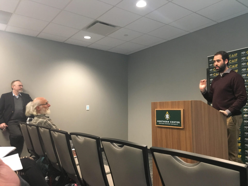 TALKING DEMOCRACY—Gilad Halper addresses an interested crowd in the University Center on Monday Feb. 24, as part of the Center for Academic and Intellectual Freedom's lecture series.