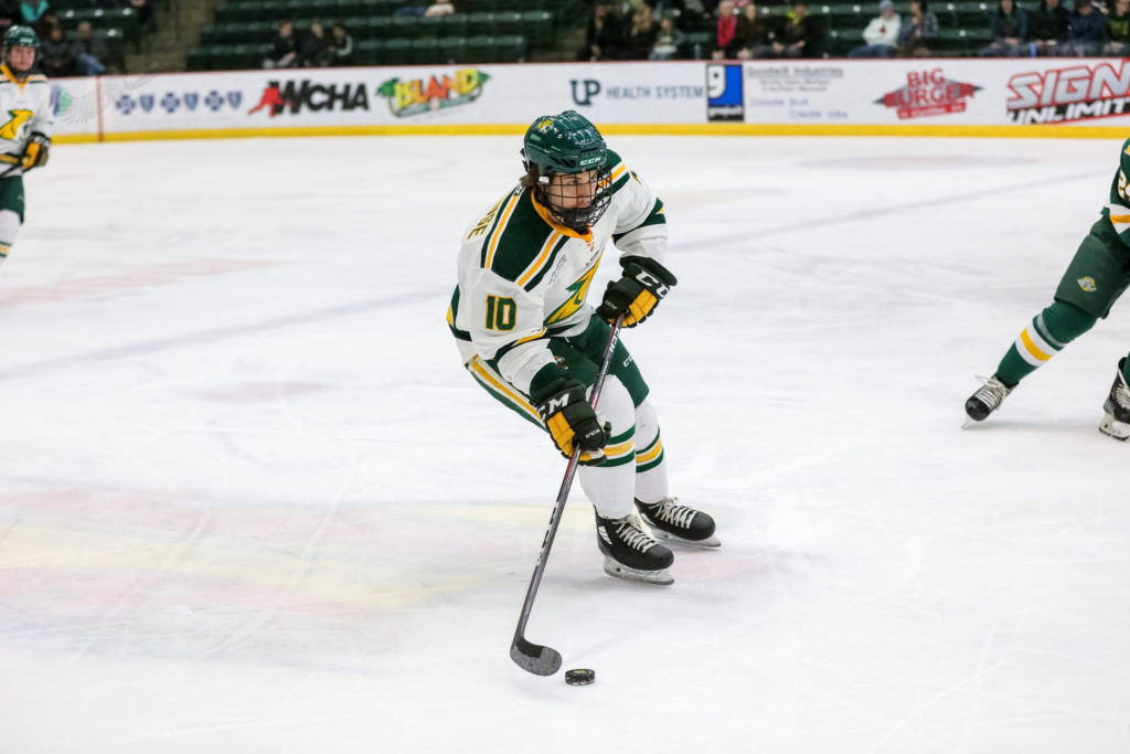 BASEMENT HOCKEY—Junior defenseman Ben Newhouse is usually on the ice at the Berry Events Center, but he has now been reduced to stick handling and other hockey-specific activities in his basement. Photo courtesy of NMU Athletics.