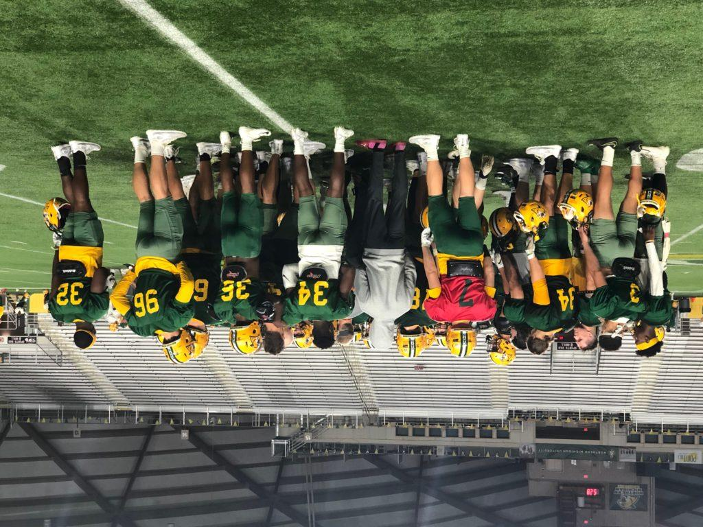 Travis Nelson/NW A HOMECOMING WITHOUT—The NMU Football team might not have a homecoming game this year, but despite the different feeling, players on the team are taking a different perspective and getting ready for when the time comes to play.