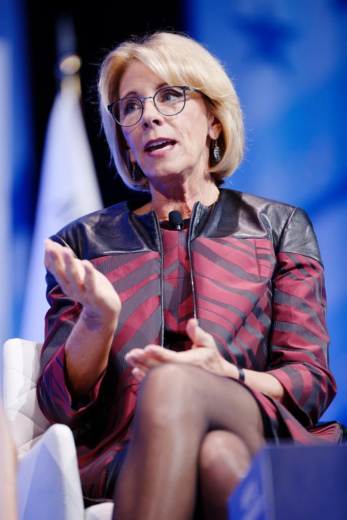 Photo courtesy of Creative commons Photo credit Secretary of Education Betsy DeVos at CPAC 2017 Feb 23rd 2017 by Michael Vadon by Michael Vadon is licensed under CC BY 2.0