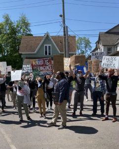 Picture of protesters on street.