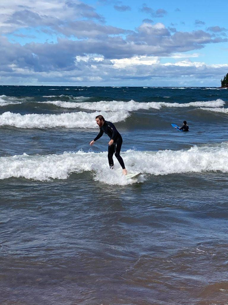 SURFS UP ON LAKE SUPERIOR—Once the height of the waves increase, so will the popularity of surfing on Lake Superior. With fall arriving so fast, winter isn't far behind. That's when the surfing weather will be in its prime.