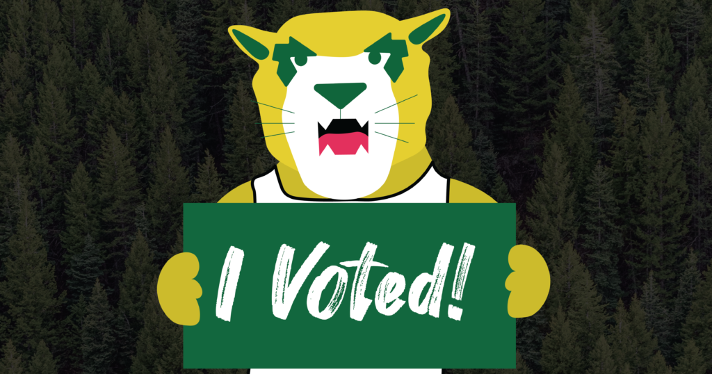 Graphic+of+NMU+mascot+Wildcat+Willy+holding+a+sign+that+says%3A+%22I+voted%21%22