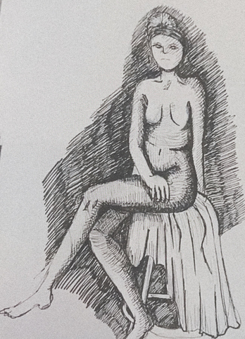 Sketch of a person drawn by an anonymous artist