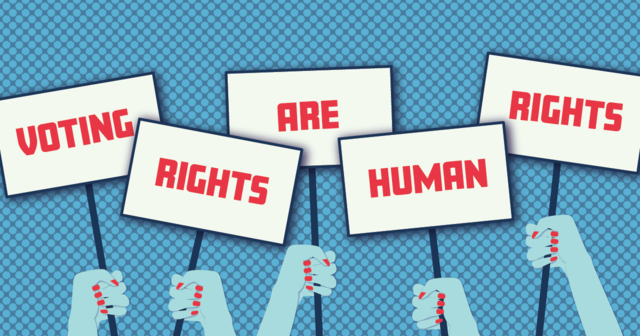 Graphic of signs being held up stating voting rights are human rights