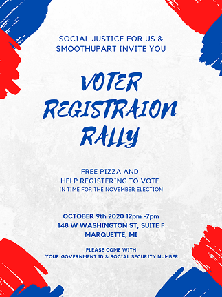 Come join Social Justice for Us and register to vote this Friday, Oct. 9. Photo courtesy of Autumn Coté.
