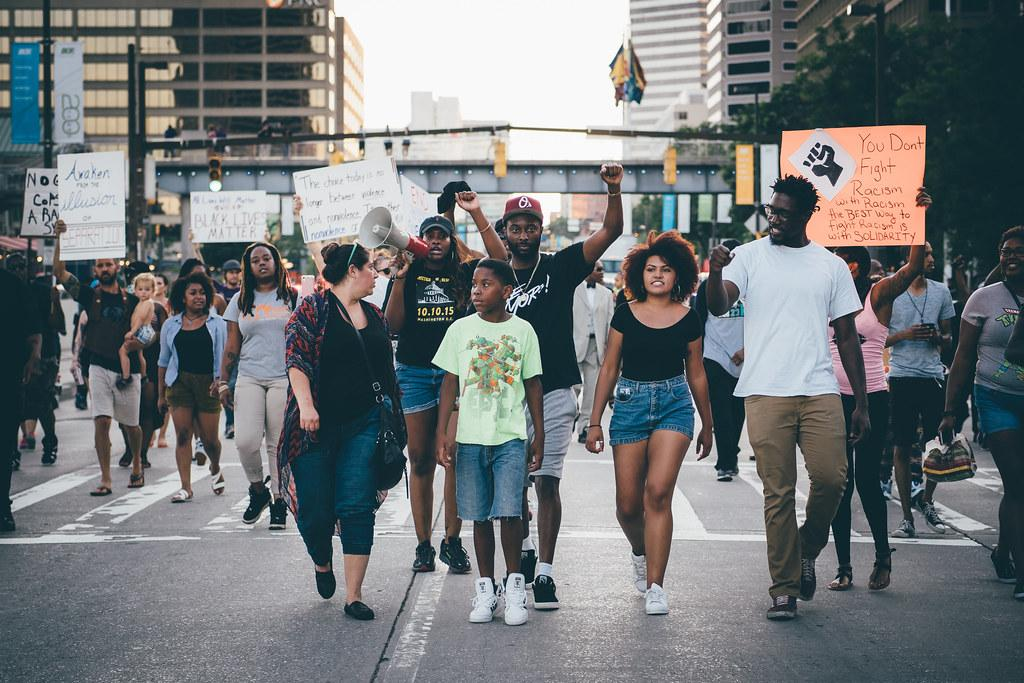 Black Lives Matter protesters marching