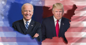 Graphic of Joe Biden and Donald Trump inside the shape of America
